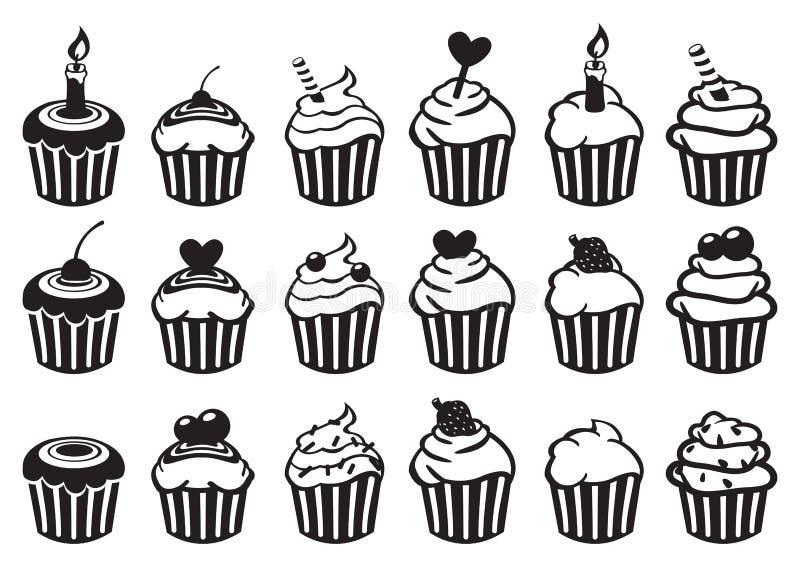 Zwart-witte Vector het Pictogramreeks van Cupcake royalty-vrije illustratie