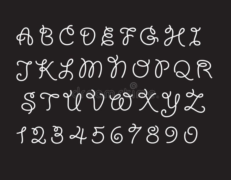 Zwart-witte Vector van modern abstract doopvont en alfabet royalty-vrije illustratie