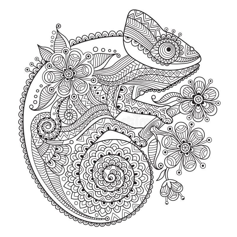 Zwart-witte vectorillustratie met een kameleon in etnische patronen stock illustratie