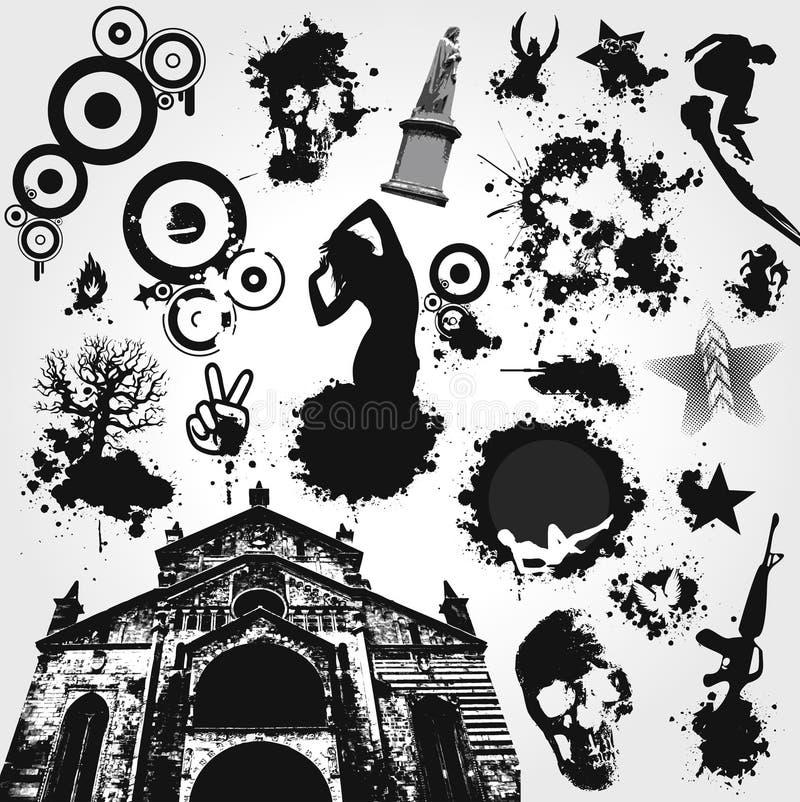 Zwart-witte VectorReeks royalty-vrije illustratie