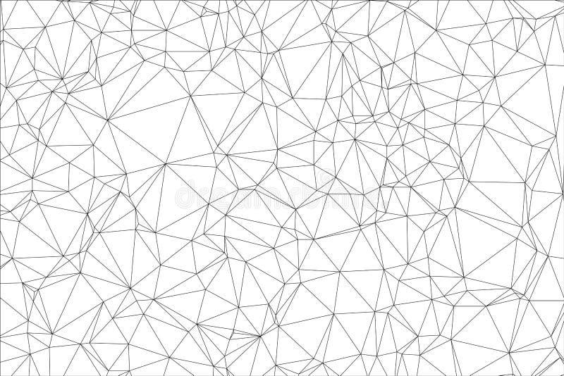 Zwart-witte veelhoek als achtergrond. vector illustratie