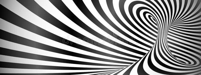 Zwart-witte verdraaide lijnen horizontale achtergrond stock illustratie