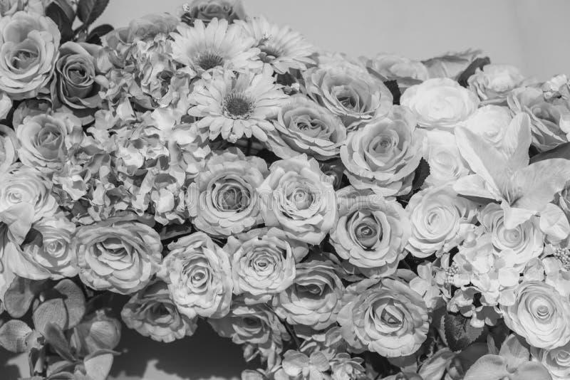 Zwart-witte verscheidenheidsbloem op boeketachtergrond royalty-vrije stock afbeelding