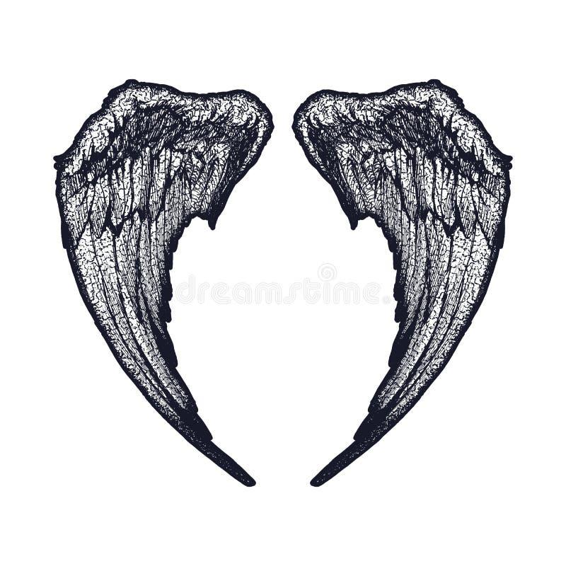 Zwart-witte Vleugels stock illustratie
