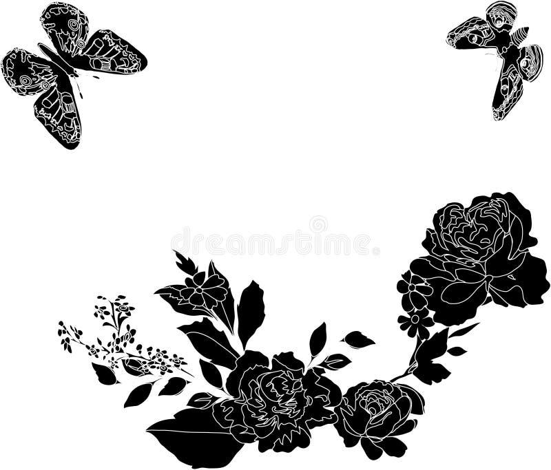 Zwart-witte vlinder en bloemen royalty-vrije illustratie