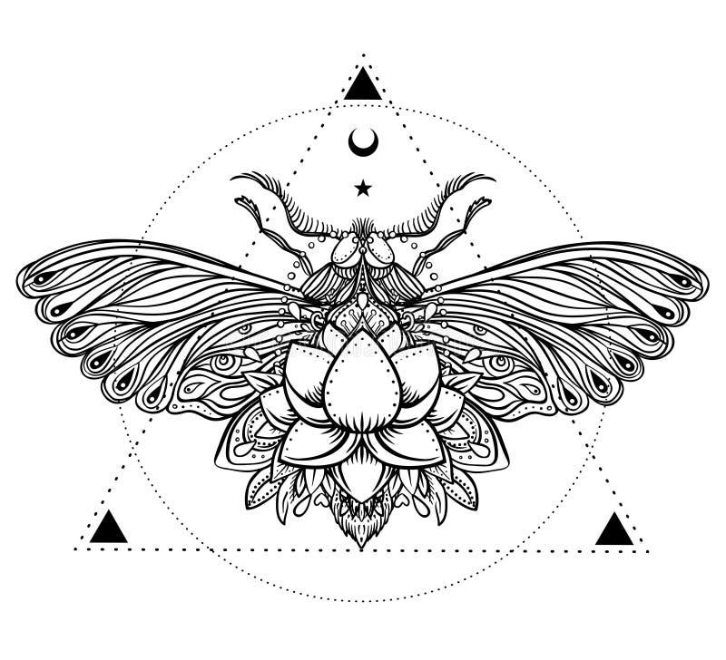 Zwart-witte vlinder over heilig meetkundeteken, geïsoleerde ve vector illustratie