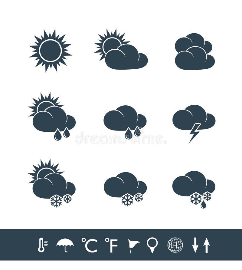 Zwart-witte weerpictogrammen vector illustratie