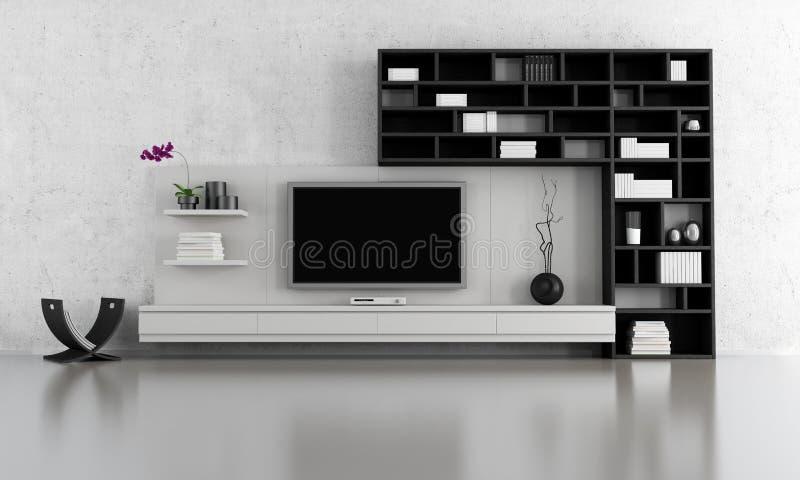 Zwart-witte woonkamer stock illustratie. Illustratie bestaande uit ...