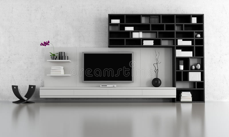 Zwart-witte woonkamer royalty-vrije illustratie