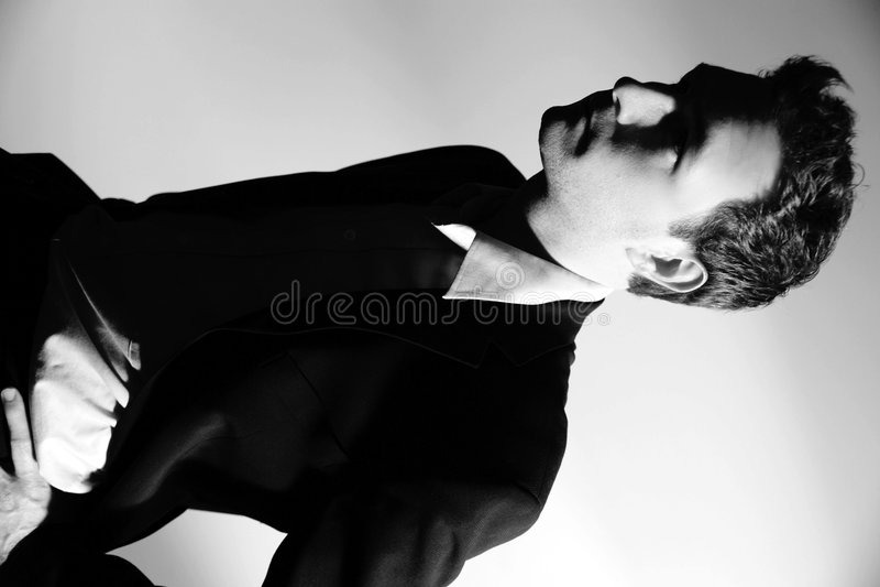 Zwart-witte zakenman royalty-vrije stock afbeelding