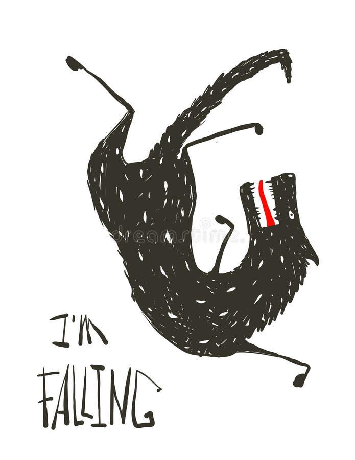 Zwart Wolf Falling Down royalty-vrije illustratie