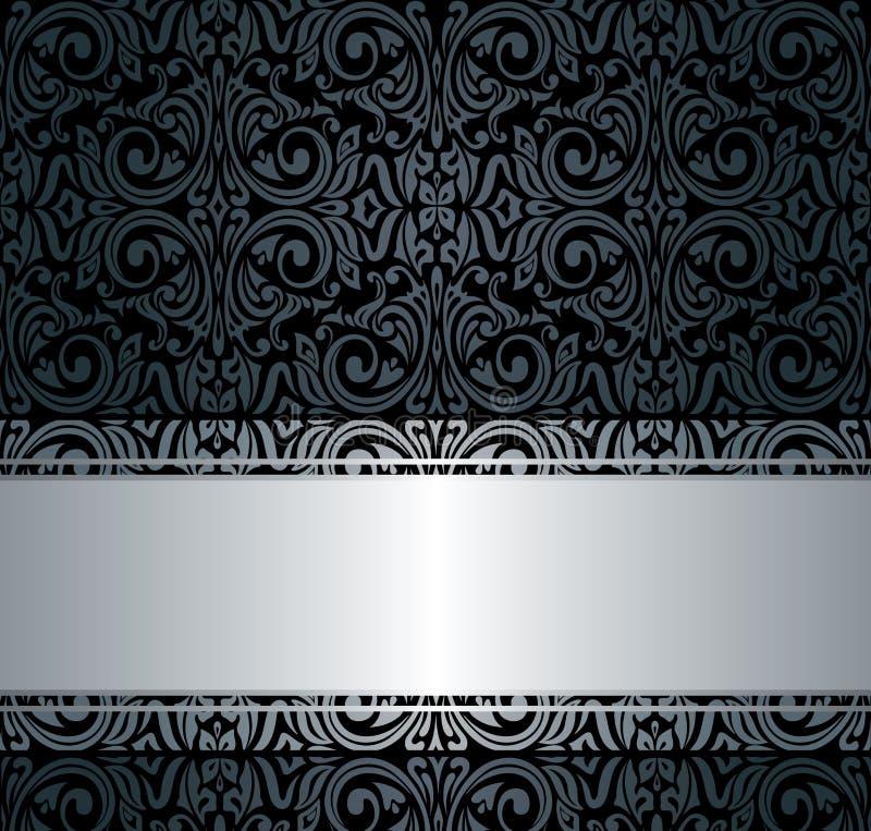 Zwart & zilveren uitstekend behang stock illustratie