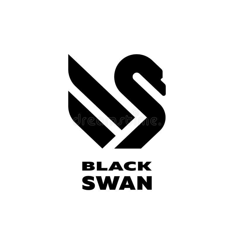 Zwart zwaan lineair embleem, symbool Vector illustratie vector illustratie