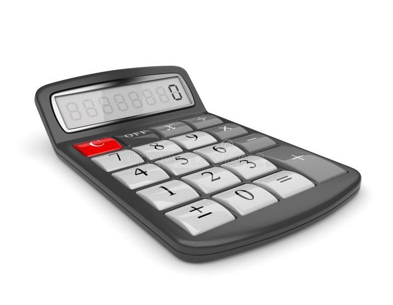Zwarte 3D calculator. Wiskunde. Geïsoleerdz vector illustratie