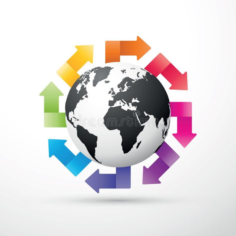 Zwarte aarde met gekleurde pijlen royalty-vrije illustratie