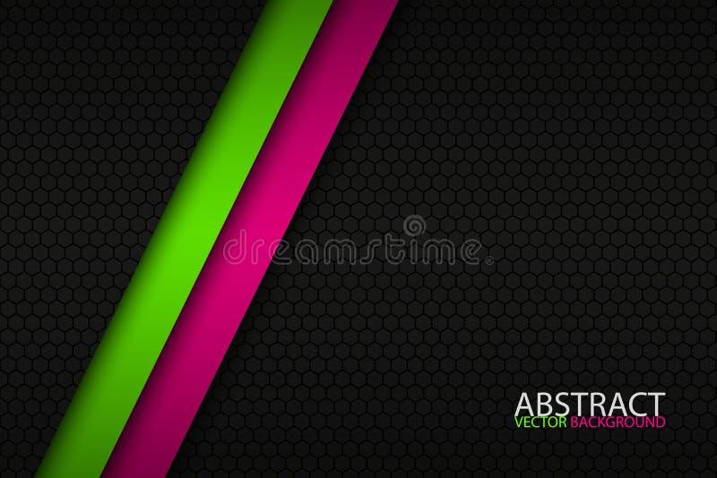 Zwarte abstracte achtergrond met twee heldere strepen vector illustratie