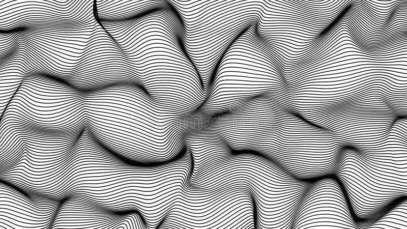 Zwarte abstracte golven op witte die achtergrond - vorm van lijnen wordt gemaakt stock illustratie