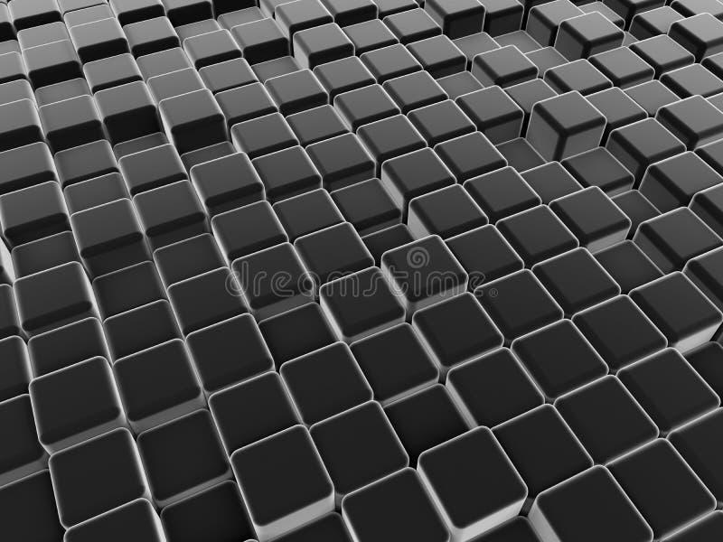 Zwarte abstracte kubussenachtergrond royalty-vrije illustratie