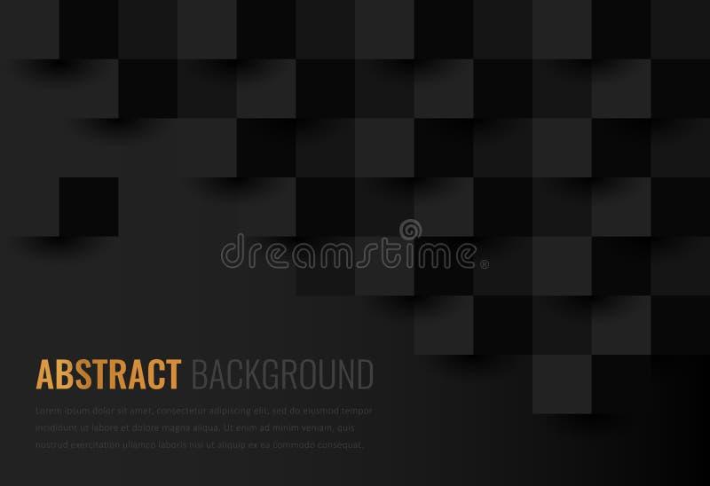 Zwarte achtergrond Abstract geometrisch malplaatje voor zaken Achtergrondtextuur met vierkant en driehoek Vector royalty-vrije illustratie