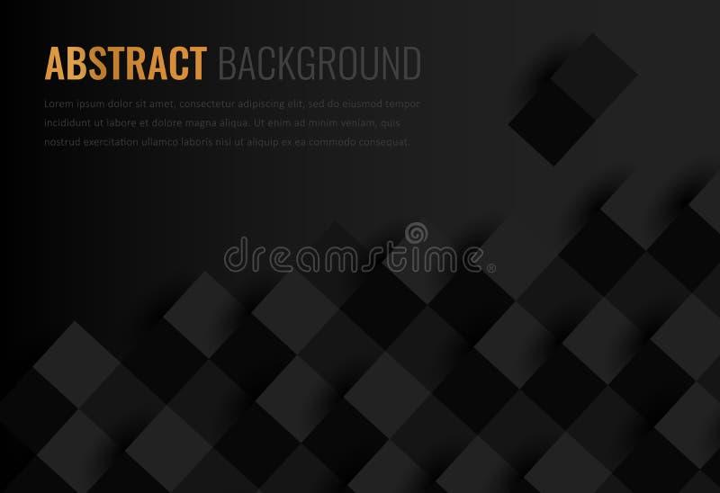 Zwarte achtergrond Abstract geometrisch malplaatje voor zaken Achtergrondtextuur met vierkant en driehoek Vector vector illustratie