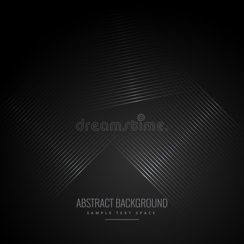 Zwarte achtergrond met abstracte diagonale lijnen stock illustratie