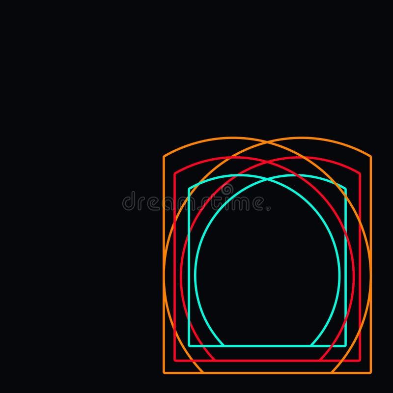 Zwarte achtergrond met de kleurrijke vorm en de boeken van het kaderei royalty-vrije illustratie