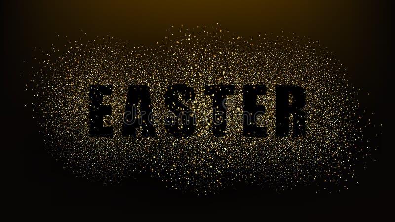 Zwarte achtergrond met de woorden Pasen Het goud schittert deeltjes Het goud schittert textuur EPS10 vector illustratie