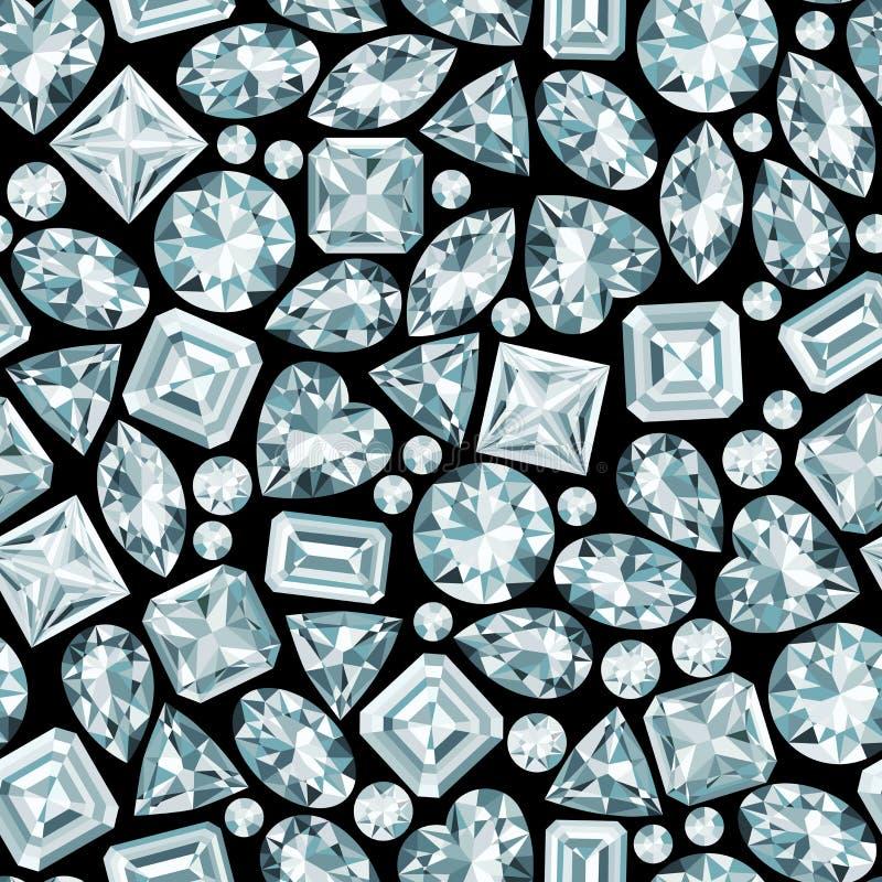 Zwarte achtergrond met diamanten naadloos patroon stock illustratie