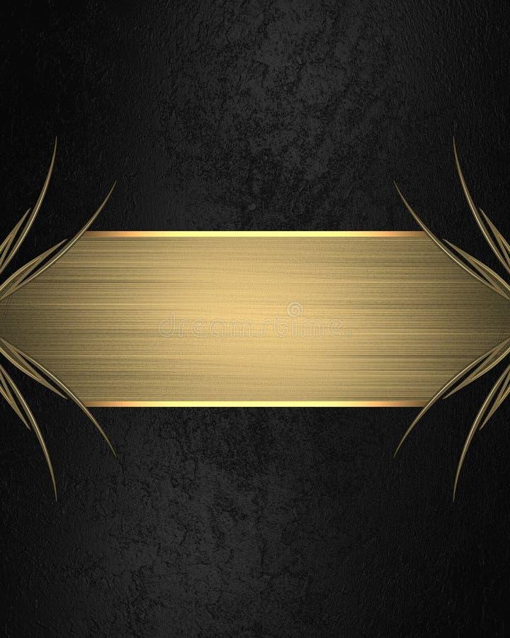 Zwarte achtergrond met een gouden naambord Element voor ontwerp Malplaatje voor ontwerp exemplaarruimte voor advertentiebrochure  stock foto