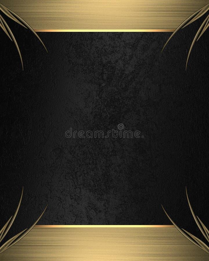 Zwarte achtergrond met gouden kader Element voor ontwerp Malplaatje voor ontwerp exemplaarruimte voor advertentiebrochure of aank stock afbeelding