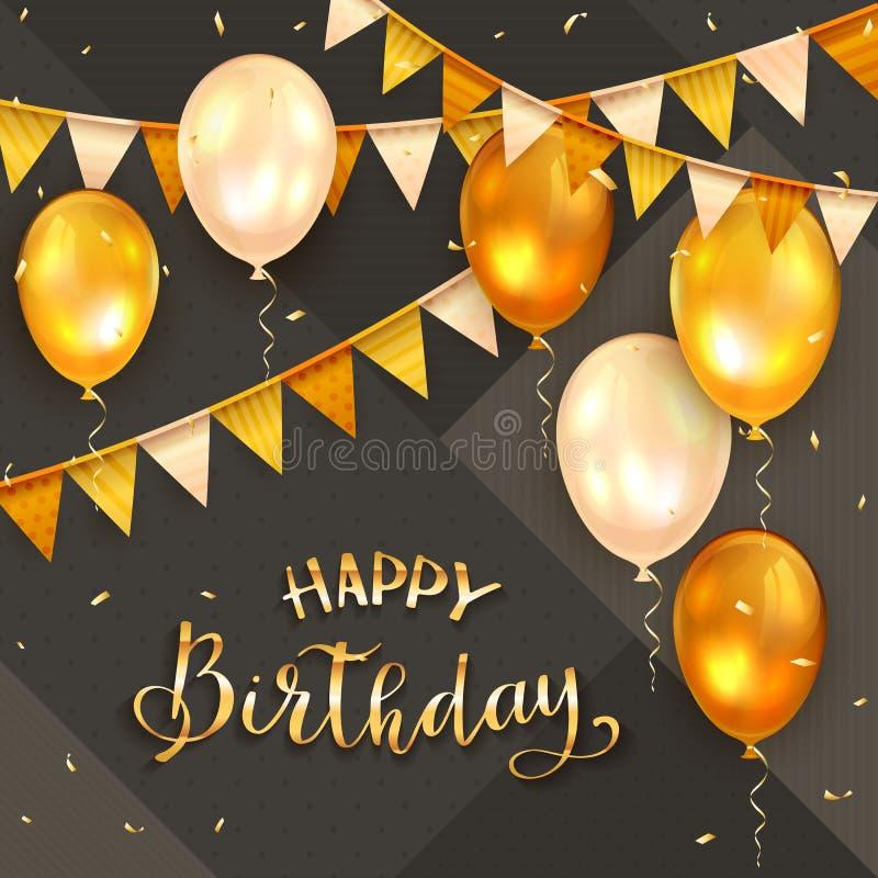 Zwarte Achtergrond met Gouden Verjaardagsballons en Wimpels royalty-vrije illustratie