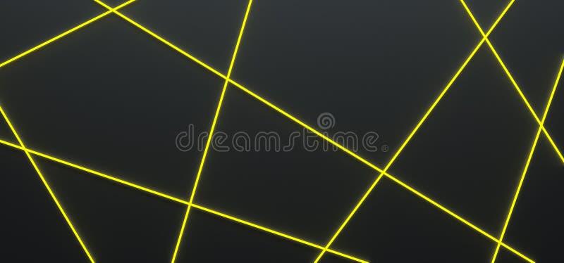 Zwarte achtergrond met heldere gele lijnen - 3D illustratie royalty-vrije illustratie