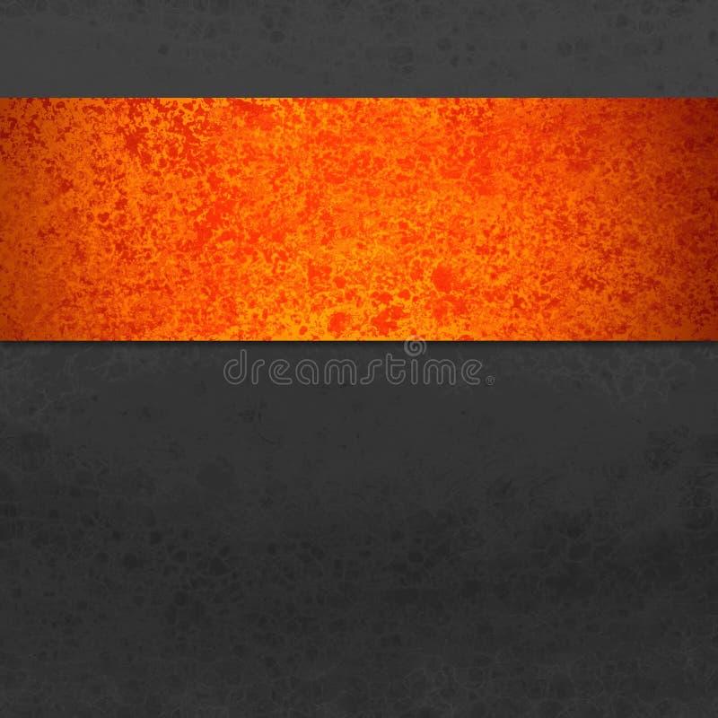 Zwarte achtergrond met kleurrijke streep of lint in oranje en rode grunge of uitstekende textuur Halloween of de herfst royalty-vrije stock foto