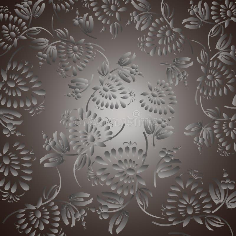 Zwarte achtergrond met zilveren bloemen en bladeren stock illustratie