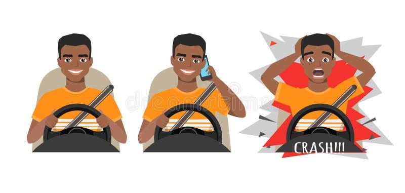 Zwarte Afrikaanse Amerikaanse mens die een auto drijven Mens die een auto drijven die op de telefoon spreken De man had een ongev stock illustratie