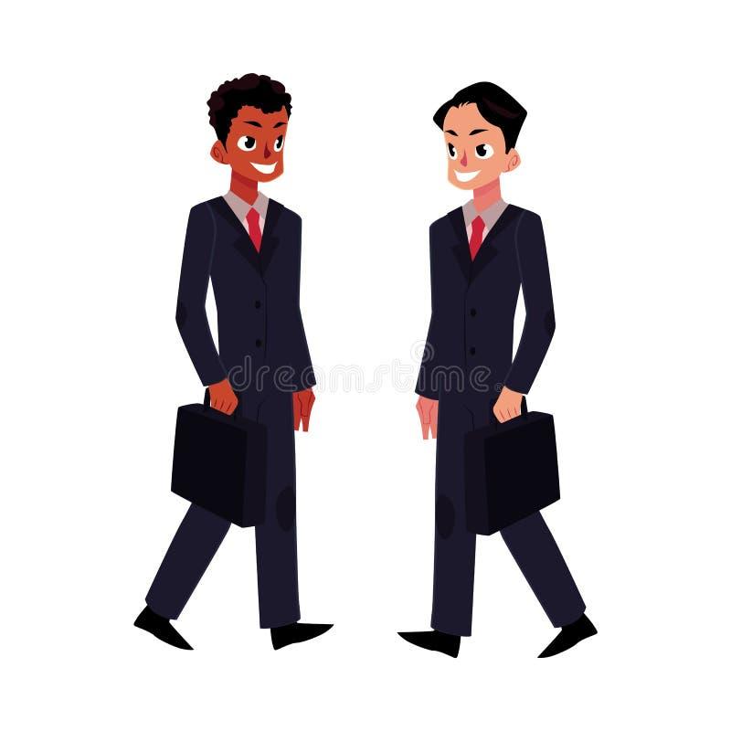 Zwarte Afrikaanse en Kaukasische zakenlieden in pakken met aktentassen vector illustratie