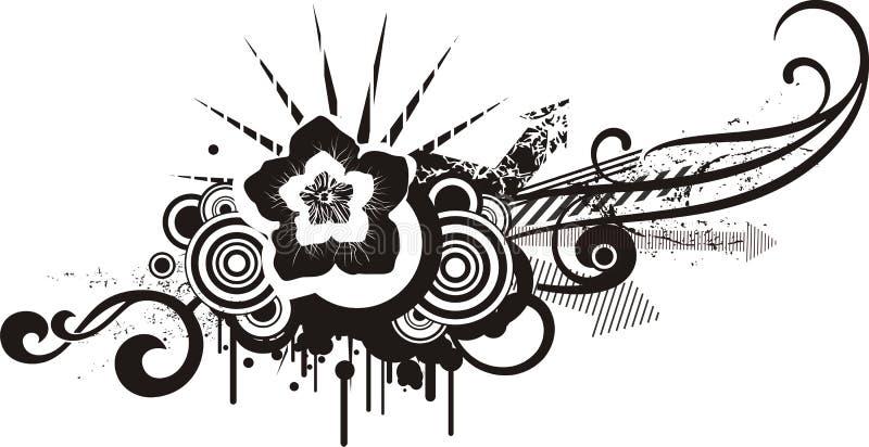 Zwarte & witte bloemenontwerpen stock illustratie