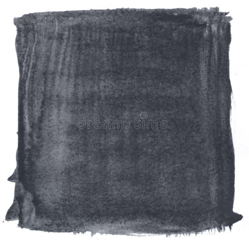 Zwarte artistieke decoratieve de verfachtergrond van de textuurwaterverf, van letters voorziende plakboekschets stock foto's
