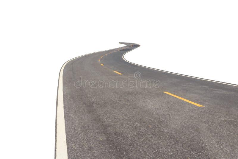 Zwarte asfaltweg met witte en gele die lijn op wit wordt geïsoleerd royalty-vrije stock foto