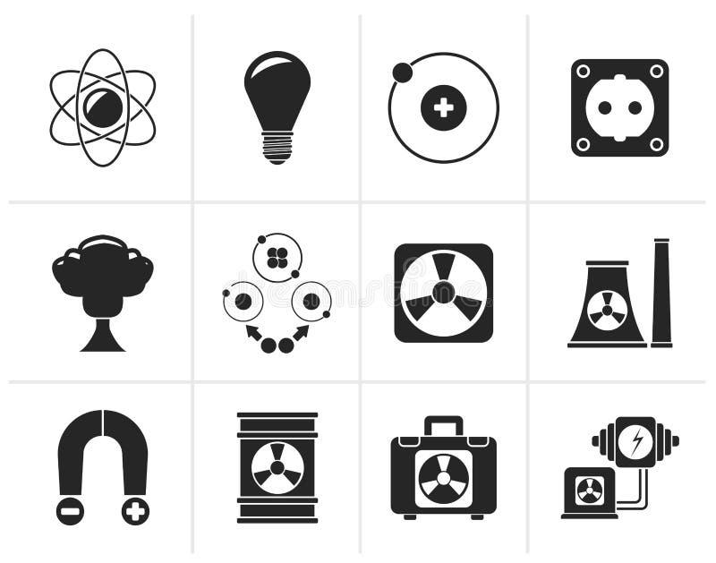 Zwarte Atoom en Kernenergiepictogrammen stock illustratie