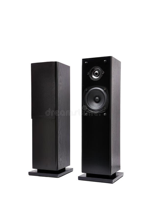 Zwarte audiosprekers stock afbeelding