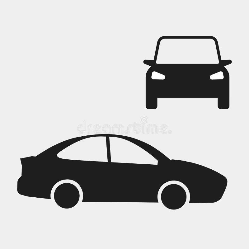 Zwarte auto die op witte achtergrond wordt geïsoleerd Auto, automobiel pictogram Bedrijfssedan Vector vlak ontwerp royalty-vrije stock afbeelding