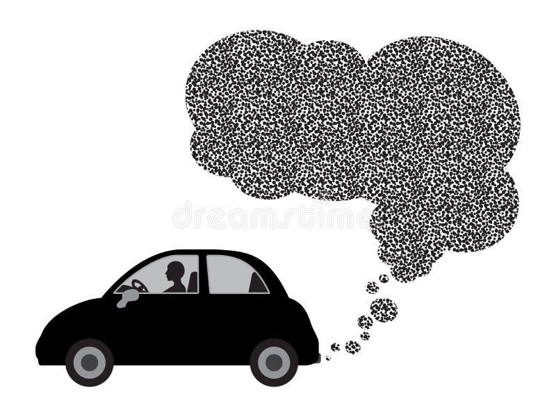 Zwarte auto en uitlaat vector illustratie