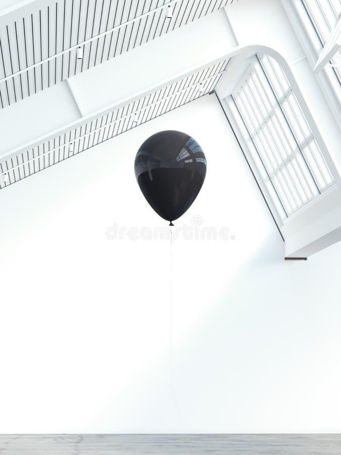 Zwarte ballon in een modern lofbinnenland het 3d teruggeven vector illustratie