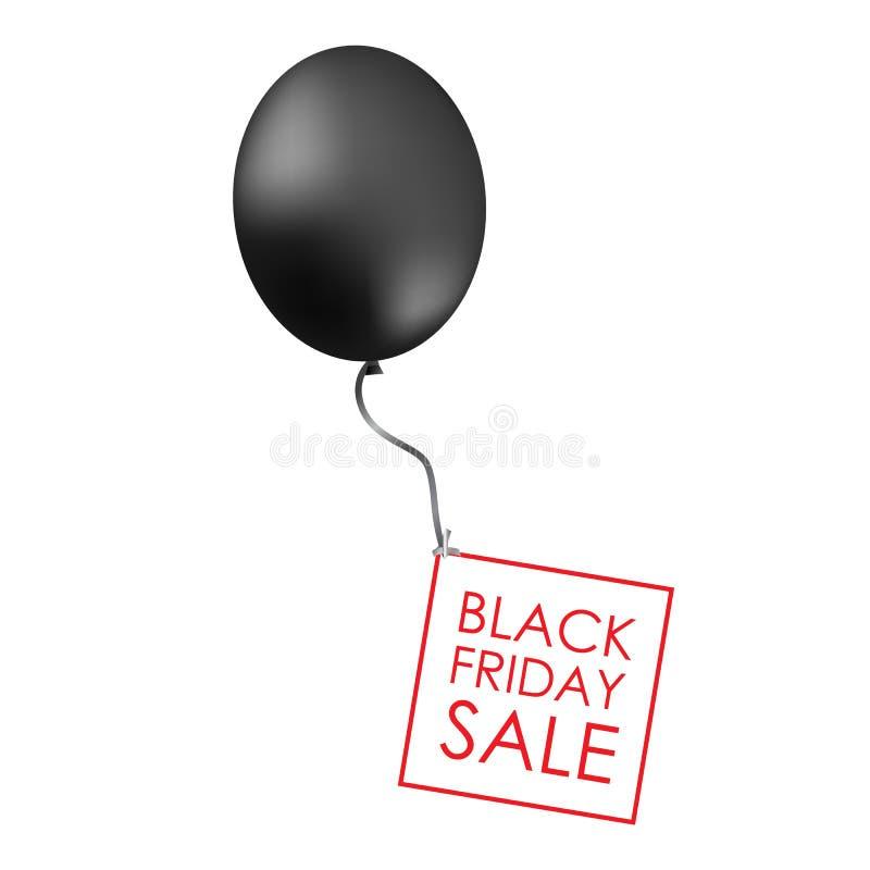Zwarte ballons op witte achtergrond met inschrijving voor promotio stock illustratie