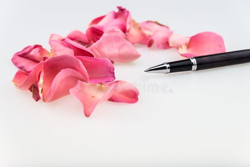Zwarte Balpen met lichtrose roze bloemblaadje op witte backgro stock fotografie