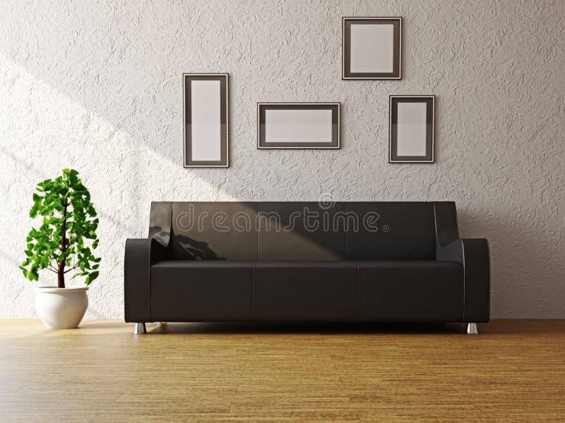 Zwarte bank dichtbij de muur stock illustratie