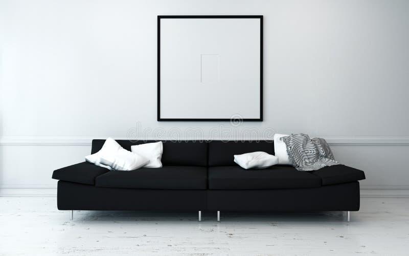 Zwarte Bank met Witte Kussens in Modern Huis stock foto