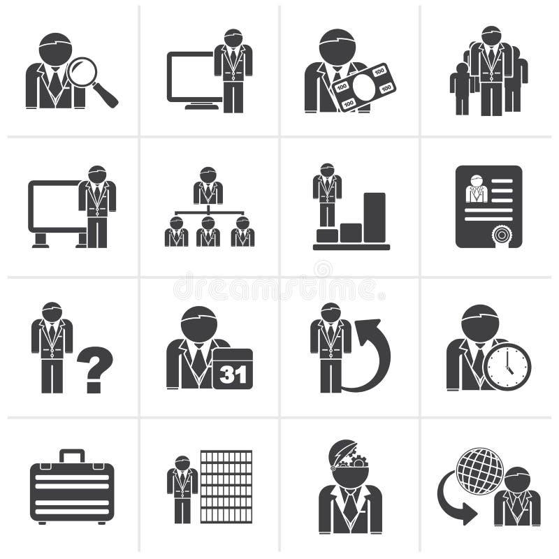 Zwarte Bedrijfs, beheers en hiërarchiepictogrammen vector illustratie