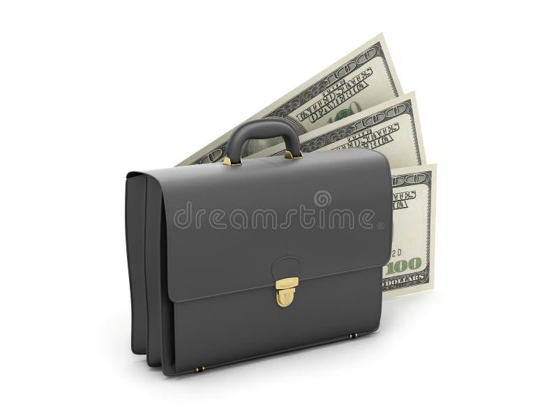 Zwarte bedrijfsaktentas en dollarrekeningen stock illustratie